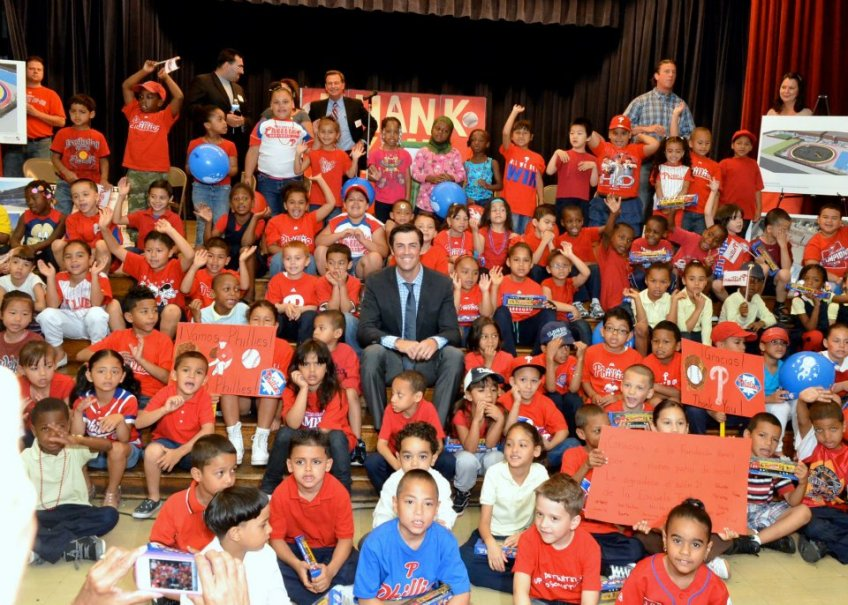 No one is happier than Hamels that Hamels showed up at this elementary school.