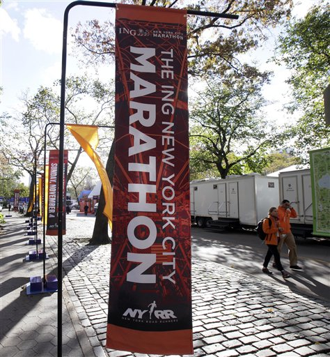 Here's what a banner for the NYC Marathon looks like.